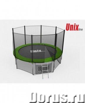 Батут уличный Unix Line 6 ft Green с сеткой лестницей - Спорт товары - Общие Высота защитной сети 16..., фото 1